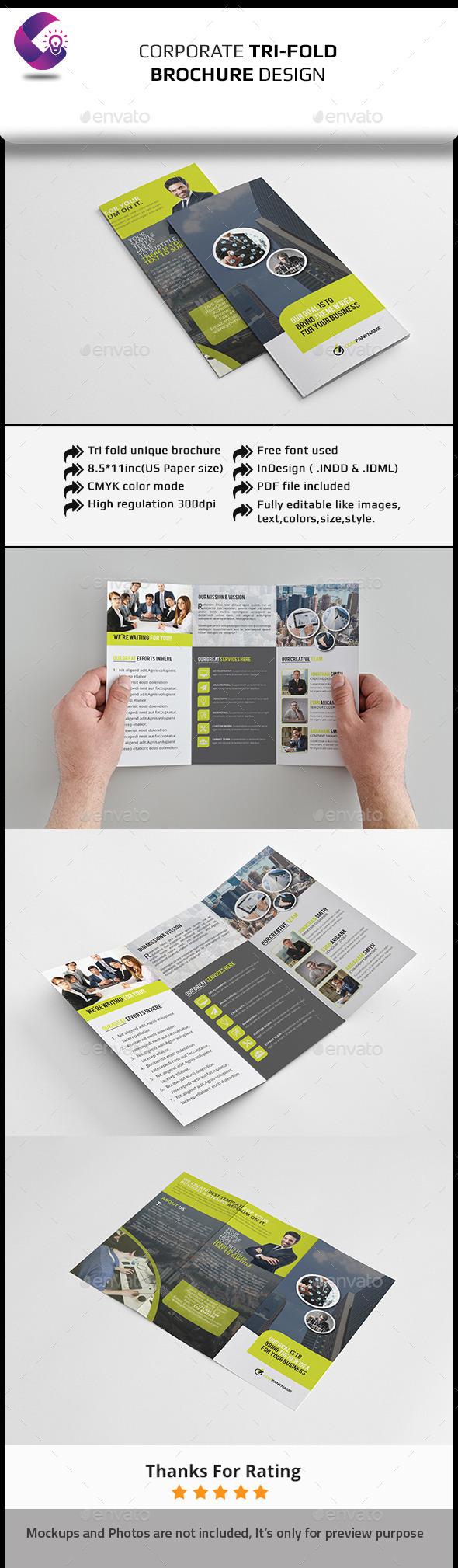 tri fold brochure indesign template design download http