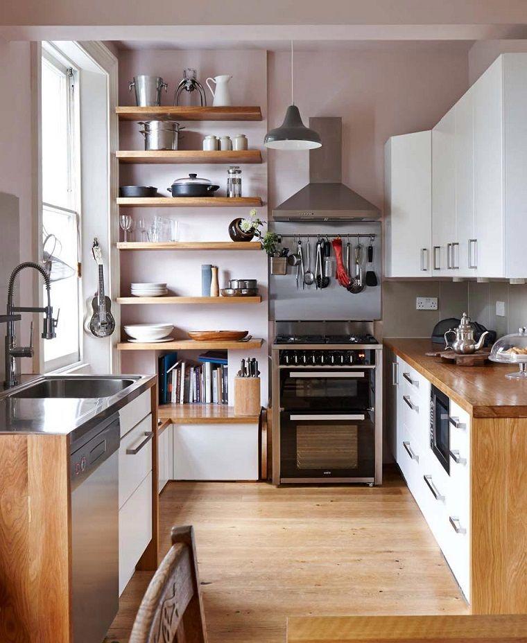 Cucine moderne piccole, idea con mensole a vista in legno e ...