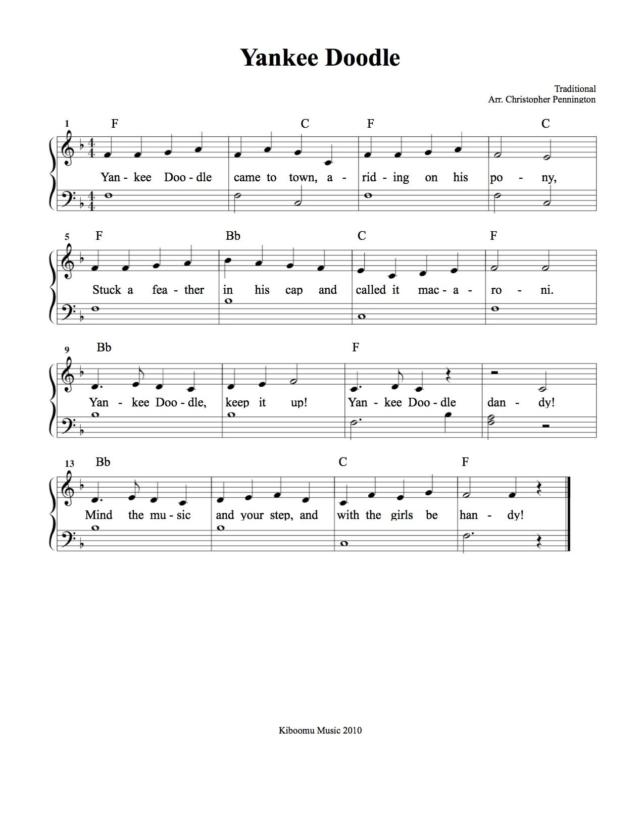 Yankee Doodle Sheet Music And Song From Kiboomu With Images