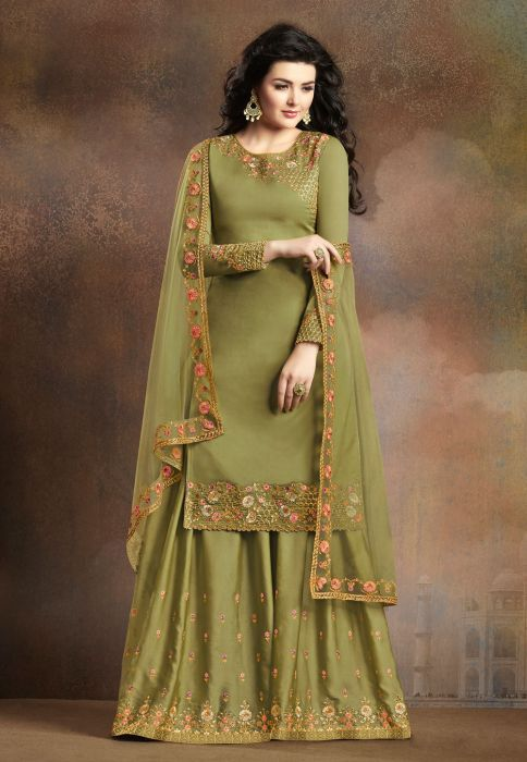 Integral Embroidered Green Silk Designer Palazzo Suit SF8962-3 #shararadesigns