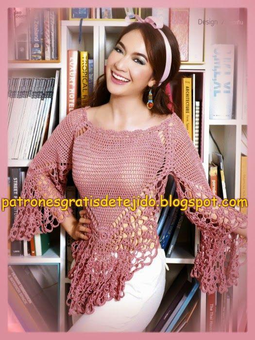 Blusa al crochet con patrones   amalys amarillo   Pinterest   Blusas ...