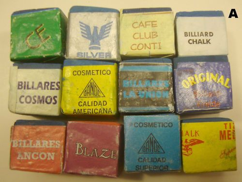Group, 12 Antique Vintage Billiard Pool Chalk, Some Rare, Most Old, Free Ship.