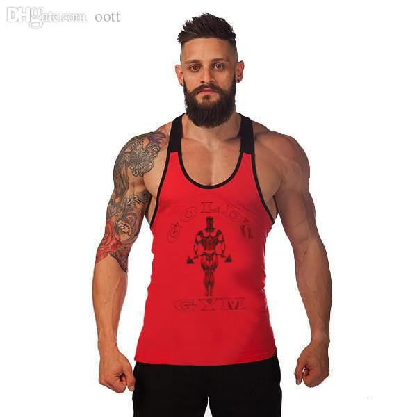 88db1605d2579 Wholesale-Newest Golds Gym Stringer Tank Tops Mens Y Back Deep Cut  Bodybuilding And Fitness Singlet Sport Muscle Sleeveless Shirt Online with   36.45 Piece ...