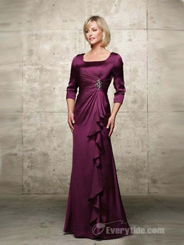 $123.99 Free Shipping【Everytide elegant long purple mother dress】