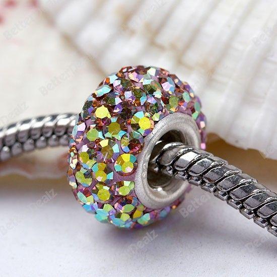 925 Silver Czech Crystal Charm European Bead