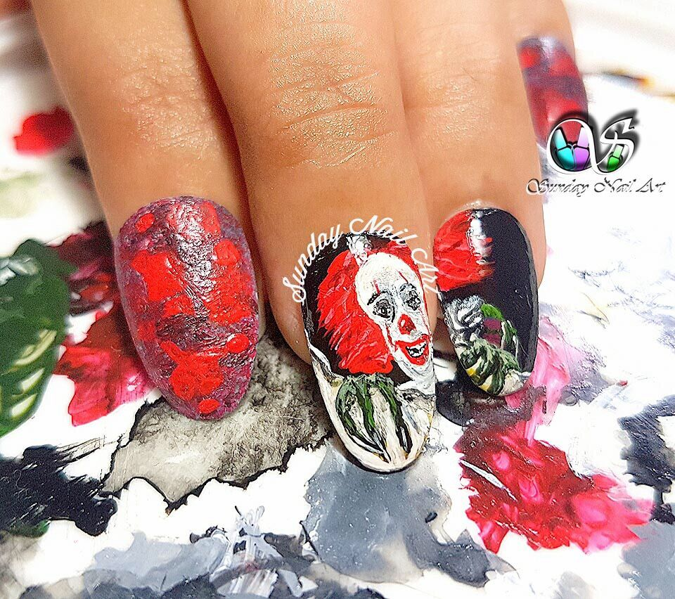 It Movie Pennywise The Clown Nail Art By Sunday Nail Art Video On