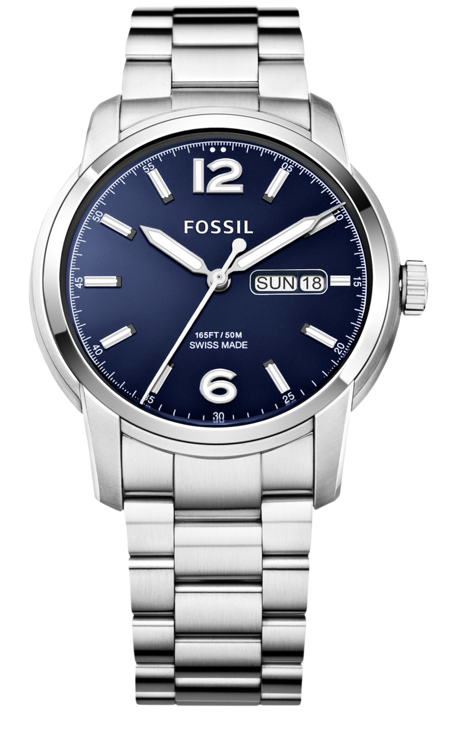 804507fa37f Fossil Swiss Made Day Date Stainless Steel Watch  695
