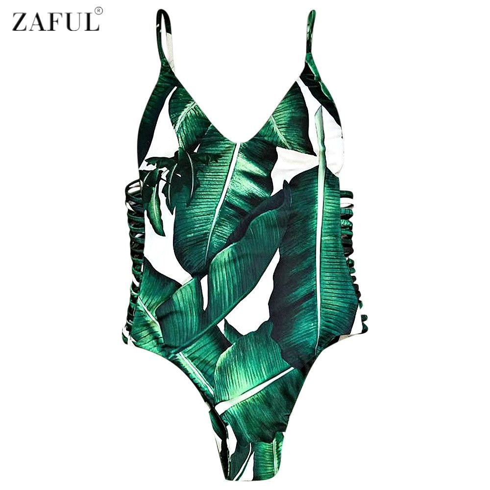 fbe06ce096 ZAFUL 2017 Sexy One Piece Swimsuit Women Swimwear Leaf Print Hollow Out  Bathing Suit Bandage Bodysuit Monokini Romper Bather-in One-Piece Suits  from Sports ...