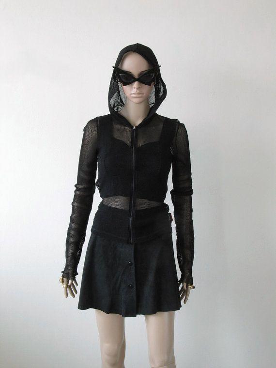 DKNY Black Fishnet Zip Hoodie Goth by icouldbegoodforyou on Etsy, $37.00