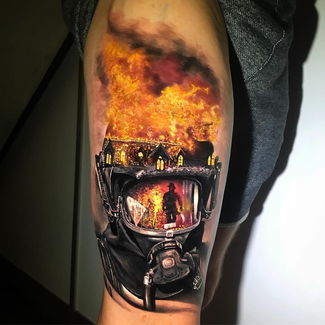 Chris showstoppr tattoos firefighter tattoo sleeve fire