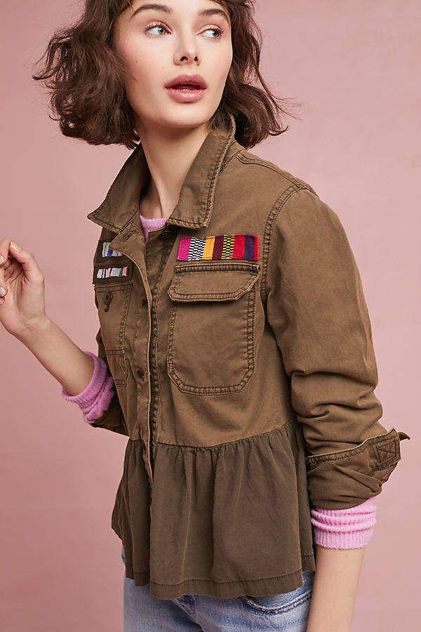 Anthropologie Military-Jacke mit Schößchen - Green | Coats / jackets ...