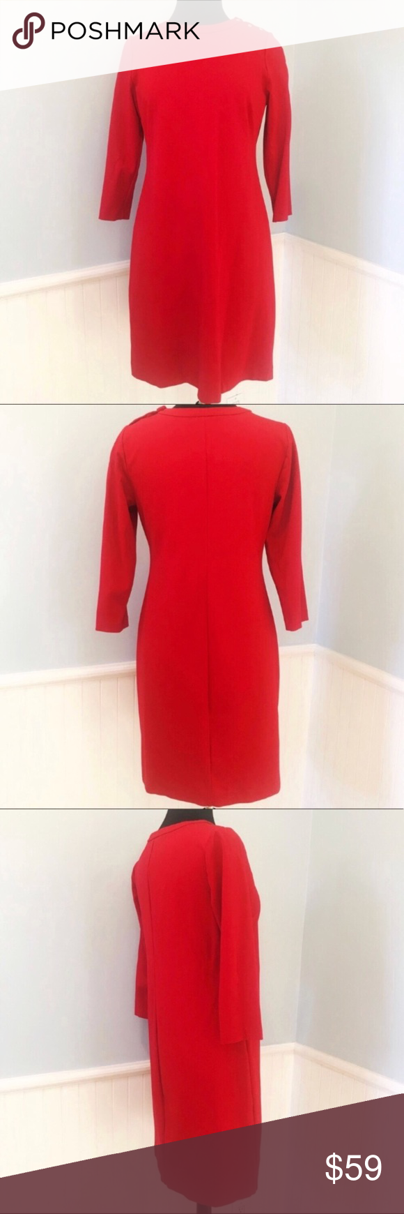 Talbots cherry red sleeve sheath dress my posh closet