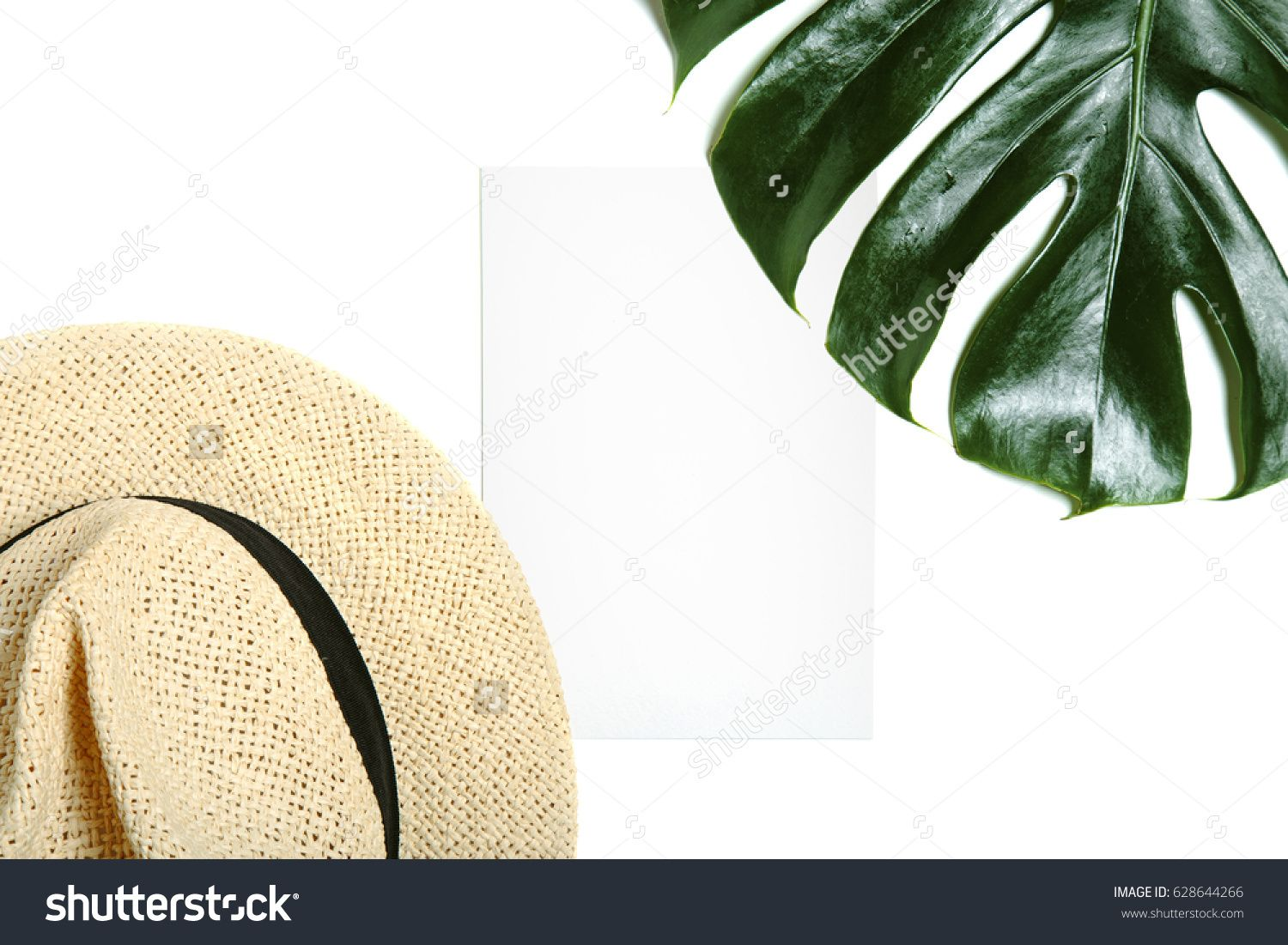 Empty Greeting Card Mock Up With Straw Hat And Leaf Of Tropical Palm