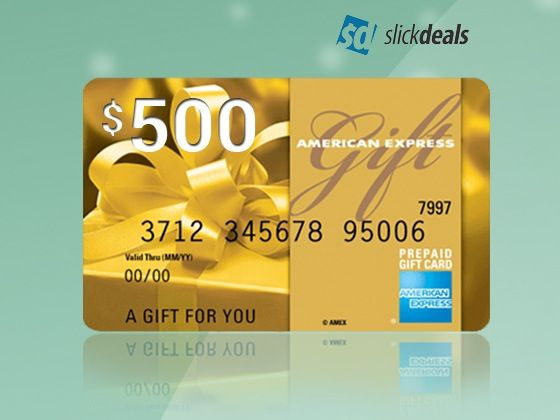 500 Amex Gift Card From Slickdeals Sweepstakes American Express Gift Card Prepaid Gift Cards Gift Card