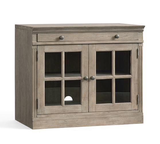 Livingston double glass door cabinet pottery barn 35 wide x 2075 pottery barn livingston small tv stand with glass doors planetlyrics Images