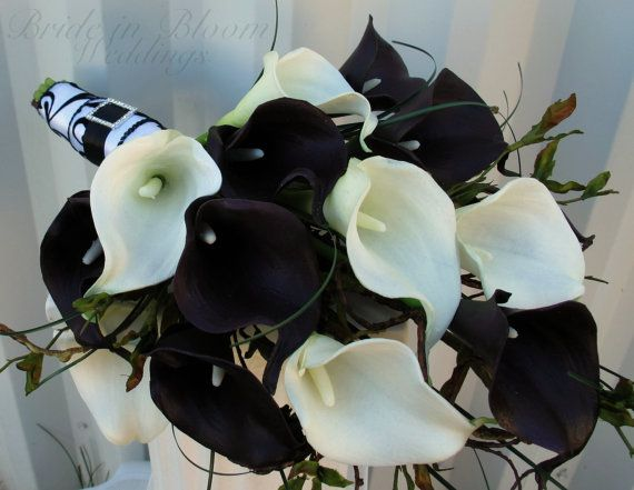 Wedding Bouquet, Real touch plum black white calla lily Bridal ...