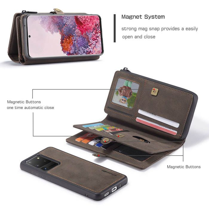 Samsung Galaxy S20 Ultra 6.9 Wallet Leather Best Phone Case Magnetic Detachable 2 in 1 Snap on Cover