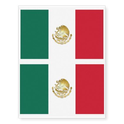 Mexico Flag With Gold Coat Of Arms Temp Tattoos