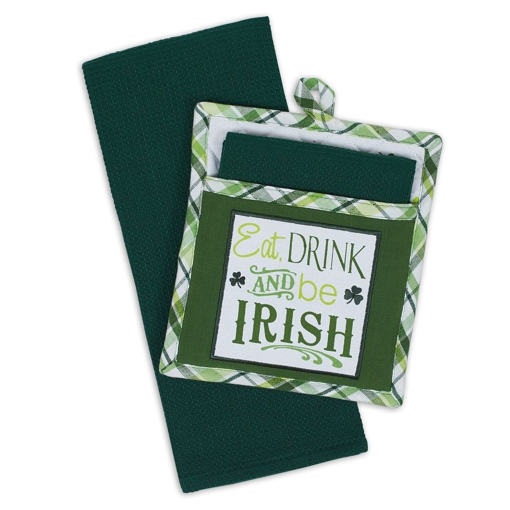 Eat drink and be irish pot holder dish towel kitchen gift