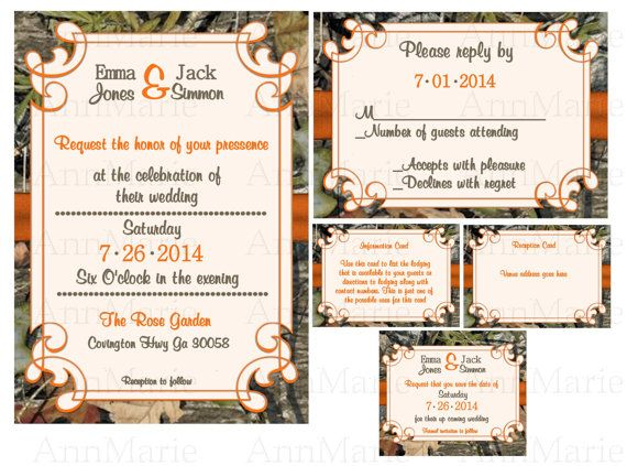 Mossy Oak Wedding Invitation Set Camo Wedding By Annmariedsgns