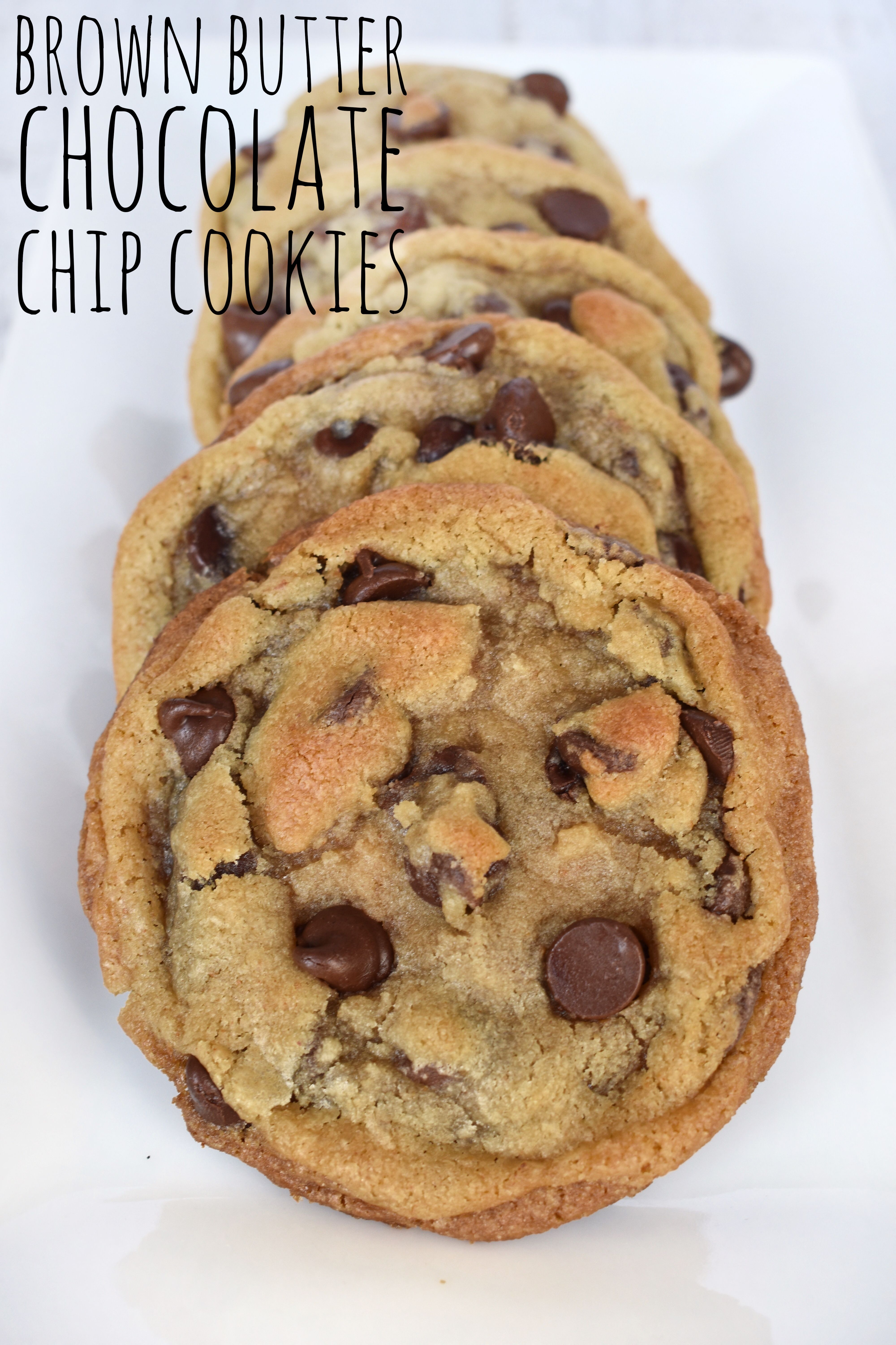 These are the PERFECT chocolate chip cookies. Crispy edges and gooey centers. These brown butter chocolate chip cookies will ruin all other cookies for you!