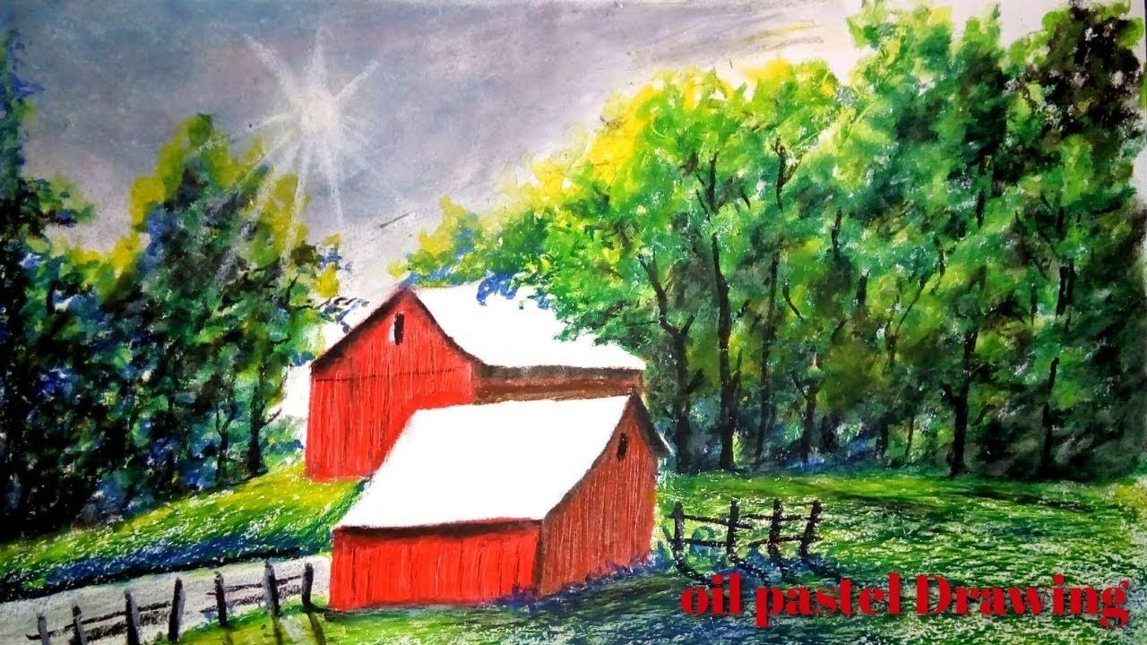 Beautiful Oil Pastel Drawing Oil Pastel Drawing For Beginners Summer Drawing 6 Six Season Drawing In 2020 Summer Drawings Easy Landscape Paintings Oil Pastel Landscape