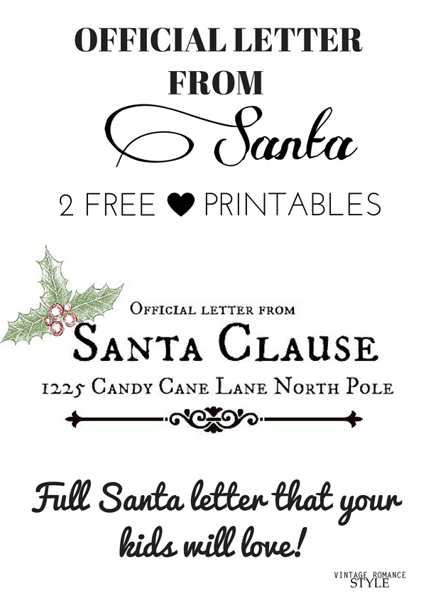Full letter from santa that your kids will love 2 free printables full letter from santa that your kids will love 2 free printables spiritdancerdesigns Image collections