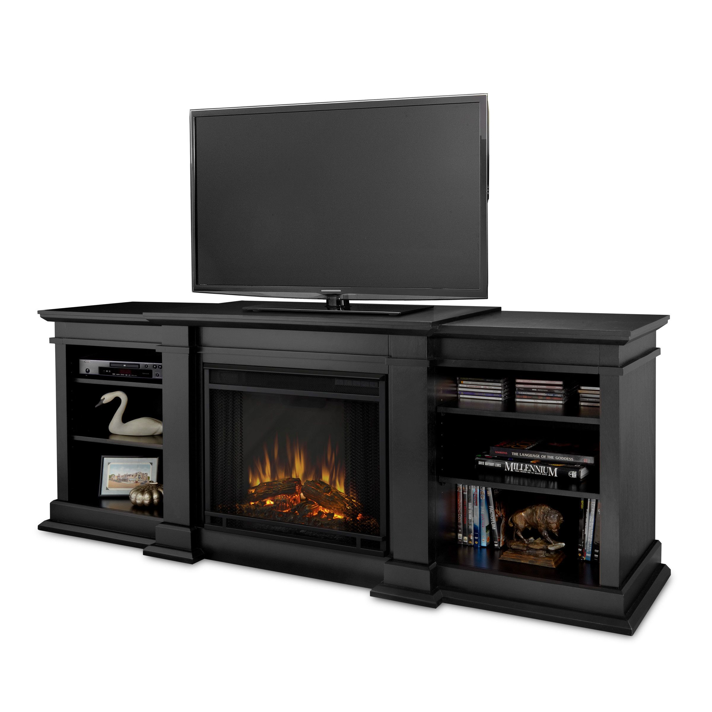 real flame fresno tv stand with electric fireplace home decor and