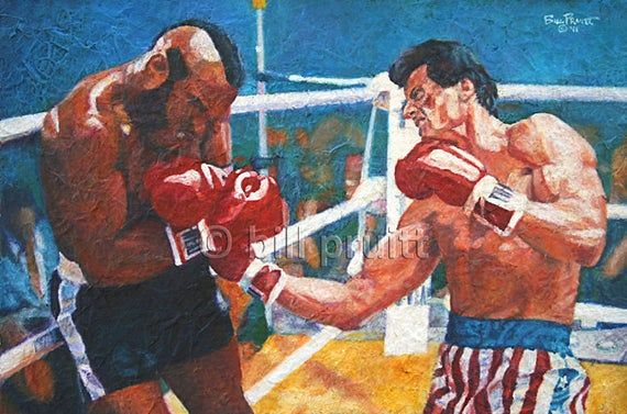 Items similar to Sylvester Stallone Rocky Balboa Clubber Lang art print 12x18 signed and dated Bill Pruitt on Etsy