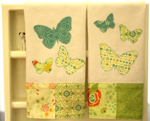 Butterfly Tea Towel With Moda Charm Pack