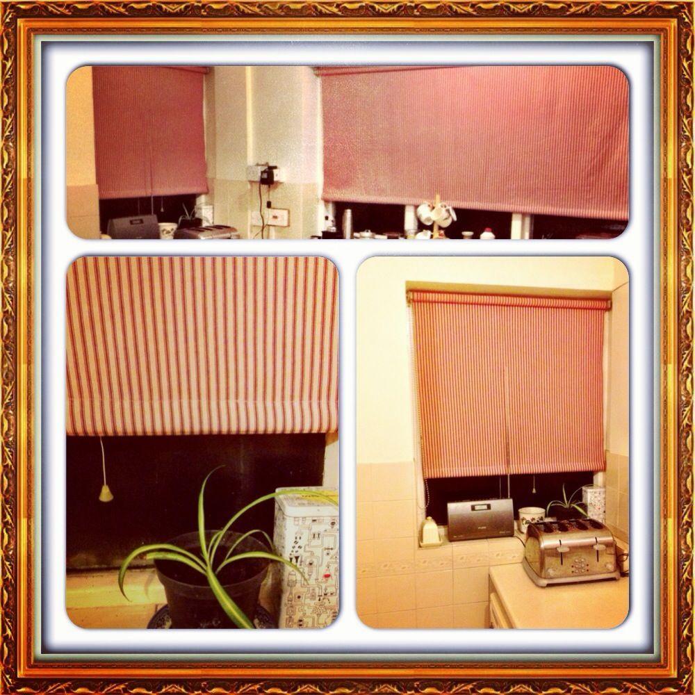 Kitchen blinds.  Pink died ticking.  Miri Birch www.mirigoround.co.uk Instagram & Twitter @miribirch