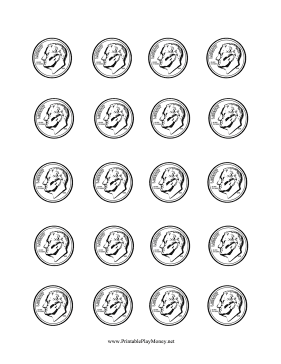 Printable Colorable Paper Dime Learn To Count Homeschool Printables Help Kids Learn