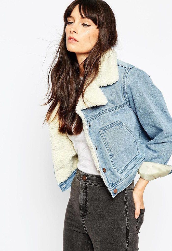 la meilleure attitude acc47 244a1 PETITE - Veste courte en jean à délavage moyen avec col et ...