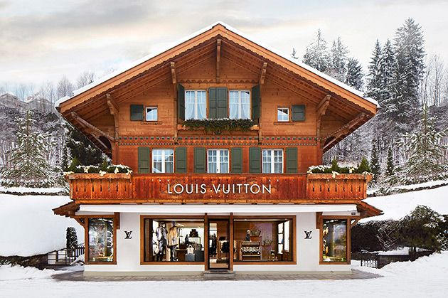 """Louis Vuitton Opens New """"Winter Resort"""" Store in Switzerland that sure looks like a scene from a movie."""