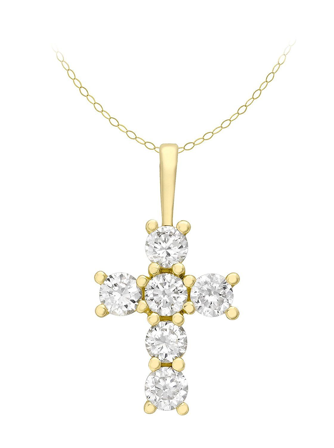 Carissima Gold 9ct Yellow Gold Cubic Zirconia Cluster and Pearl Pendant on Curb Chain Necklace of 46cm/18 X4g82QW