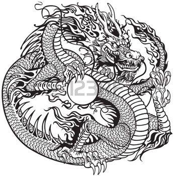 fantasy tattoo chinesischer drache h lt perle schwarz wei abbildung t towierung zentangle. Black Bedroom Furniture Sets. Home Design Ideas