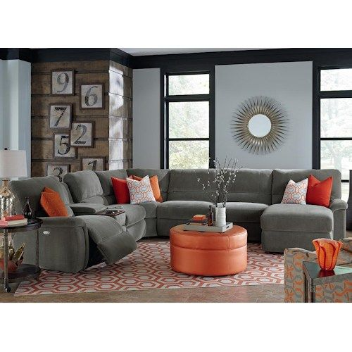 La Z Boy Aspen Seven Piece Reclining Sectional Sofa With Cupholders