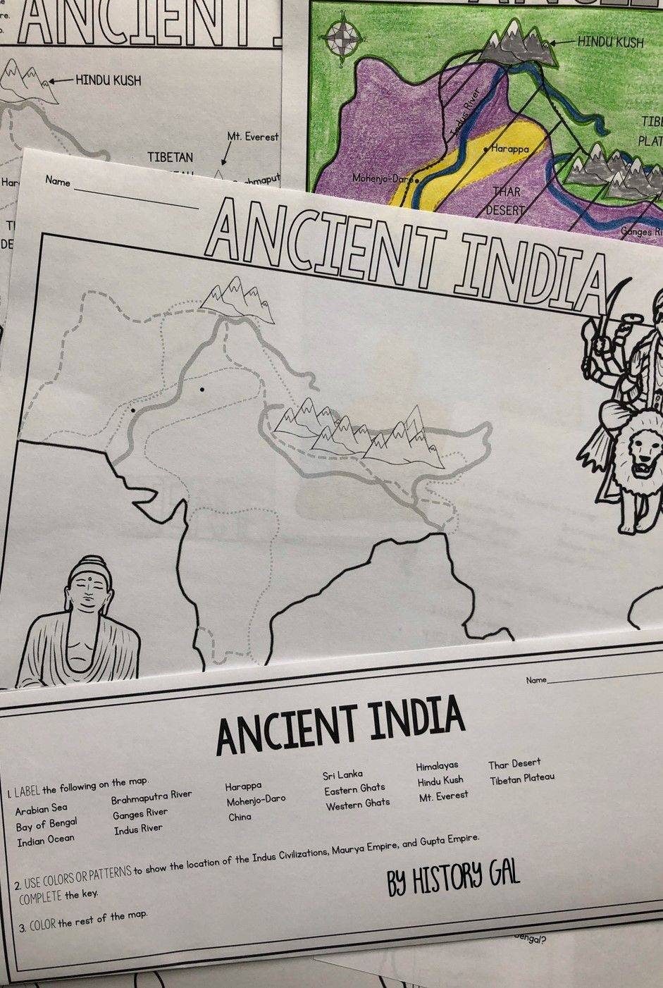 Students Will Label And Color A Map On Ancient India To Help Them Visualize And Retain The Location Of The Indus Ancient India Map Map Activities Ancient India