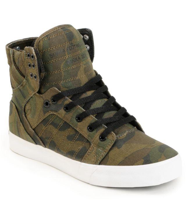Supra Skytop Green Camo Canvas Skate Shoes  879718a9e3d5