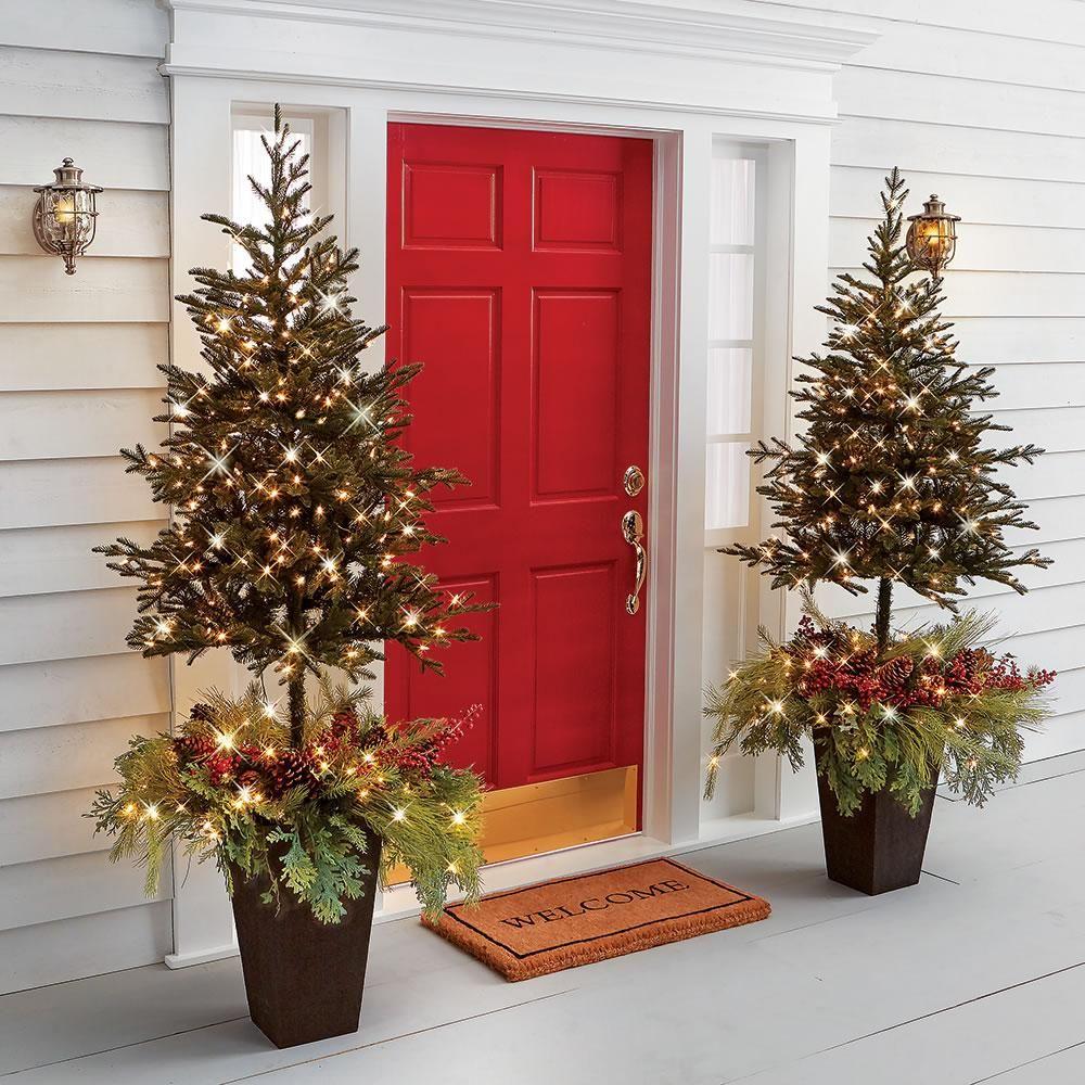The Estate Door Prelit Christmas Tree Planter Pre lit