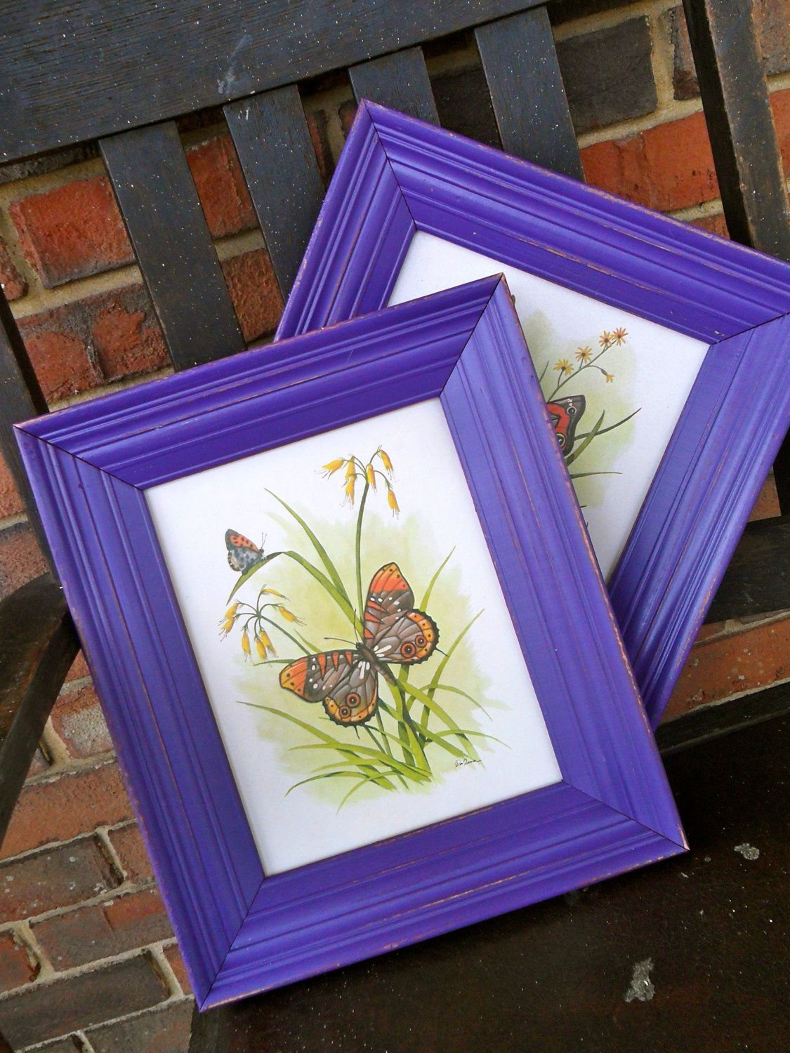 vintage butterfly prints with painted wooden frames vintage