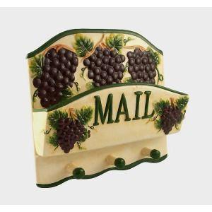 GRAPE Kitchen Ceramic Letter Mail Holder Rack Keys