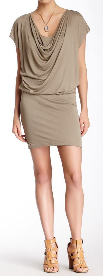 Comfortable and flattering dress.  alice + olivia Cowl Neck Drape Dress.