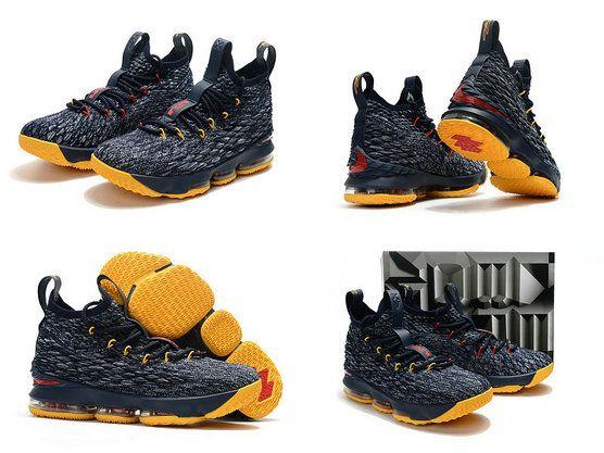 27ce5f3d6a98 2018-2019 Cheap Cheap LeBron Shoes 2018 Lebron 15 XV Cavs Away Midnight  Navy Yellow