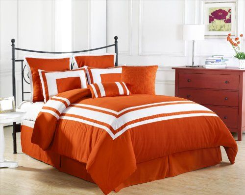 7 Pieces Luxury Coral Orange Grey And White Quilted Linen