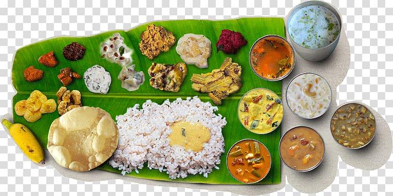 Assorted Foods On Banana Leaf Sadhya Indian Cuisine Kerala Vegetarian Cuisine Kheer Sadhya Transparent Backgroun Vegetarian Cuisine Food South Indian Cuisine