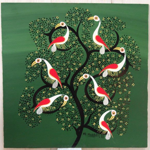 80年代ティンガティンガ絵画-白い鳥たち