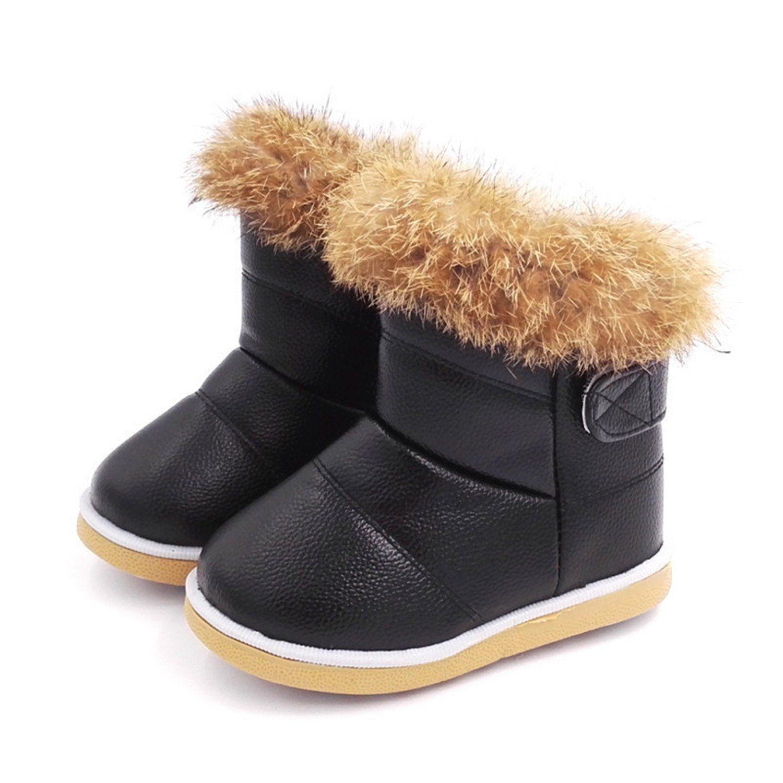 Winter Child Girls Snow Boots Shoes Warm Plush Soft Bottom Baby
