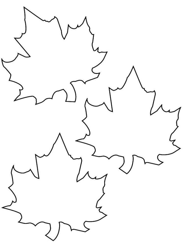 Vorlage zum Ausdrucken und Ausmalen - drei Herbstblätter ...
