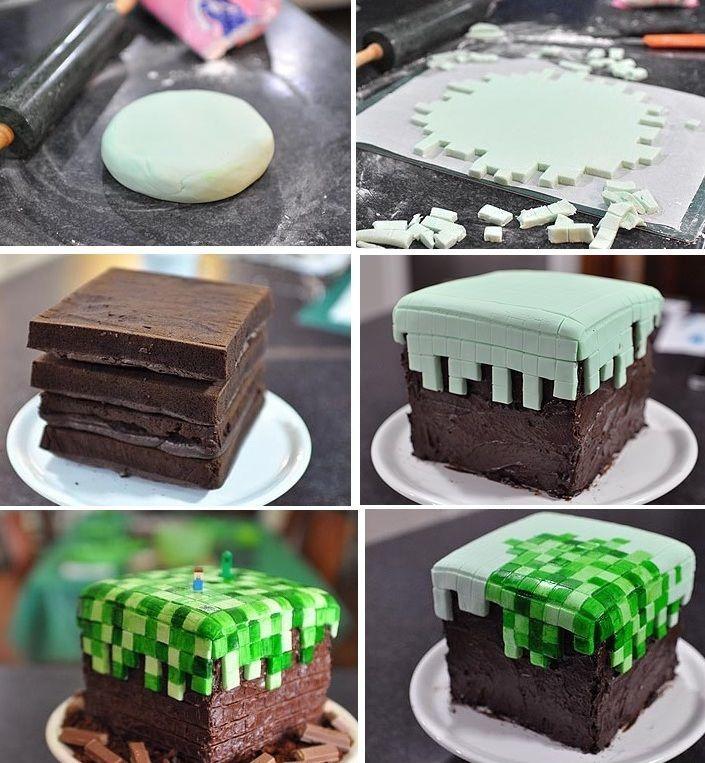 mine craft birthday cake for boys cupcakepedia holidays events pinterest kuchen. Black Bedroom Furniture Sets. Home Design Ideas